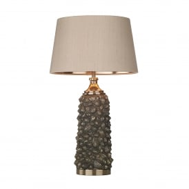 Corbiere Single Light Table Lamp In Bronze Finish With Taupe Silk Shade