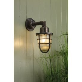 CRE1537 Crewe Single Light Outdoor Wall Fitting Made From Solid Brass in Oxidised Finish