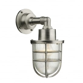 CRE1538 Crewe Single Light Outdoor Wall Fitting Made From Solid Brass In Nickel Finish