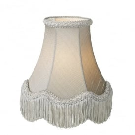 Daisy 10 Inch 100% Silk Shade In Grey Finish With Scallop Fringe Detail