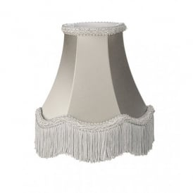 Daisy 14 Inch Satin Soft Shade In Dove Grey Finish With Scallop Fringe Detail