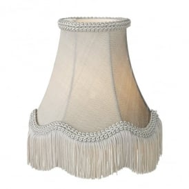Daisy 16 Inch 100% Silk Shade In Silver Grey Finish With Scallop Fringe Detail
