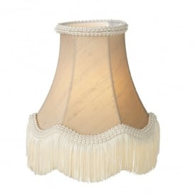 Daisy 20 Inch 100% Silk Shade In Taupe Finish With Scallop Fringe Detail