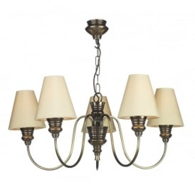 DOR0500 (SEA MIST GOLD SHADES) Doreen 5 Light Chandelier in a Bronze Finish Complete with Sea Mist Gold Silk Shades