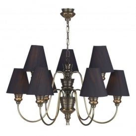 DOR1300 (BLACK SHADES) Doreen Bronze Finish 9 Light Chandelier Complete with Black Silk Shades