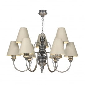 DOR1399 Doreen Medium 9 Light Chandelier in Pewter with Silk Shades