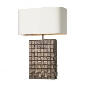 Element Single Light Table Lamp in Antique Copper Finish with Ivory 100% Silk Shade