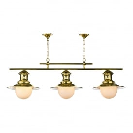 EP0340 Station 3 Light Ceiling Fitting in Polished Brass Finish
