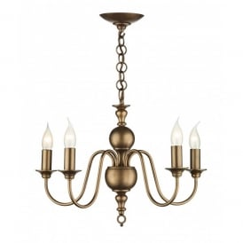FLE0563 Flemish 5 Light Chandelier in a Matt Bronze Finish