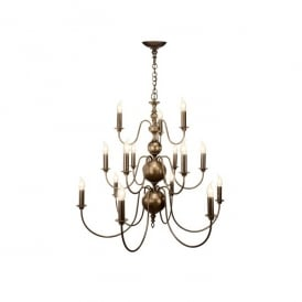 FLE1563 Flemish 15 Light Large Chandelier in a Matt Bronze Finish
