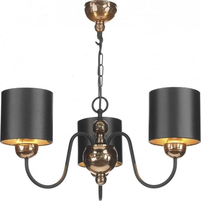 David hunt lighting garbo 3 light chandelier fitting in bronze garbo 3 light chandelier fitting in bronze finish with black shades mozeypictures Gallery