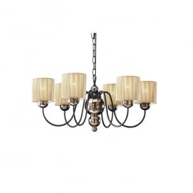 Garbo 6 Light Multi-Arm Ceiling Fitting In Bronze Finish With Gold String Shades
