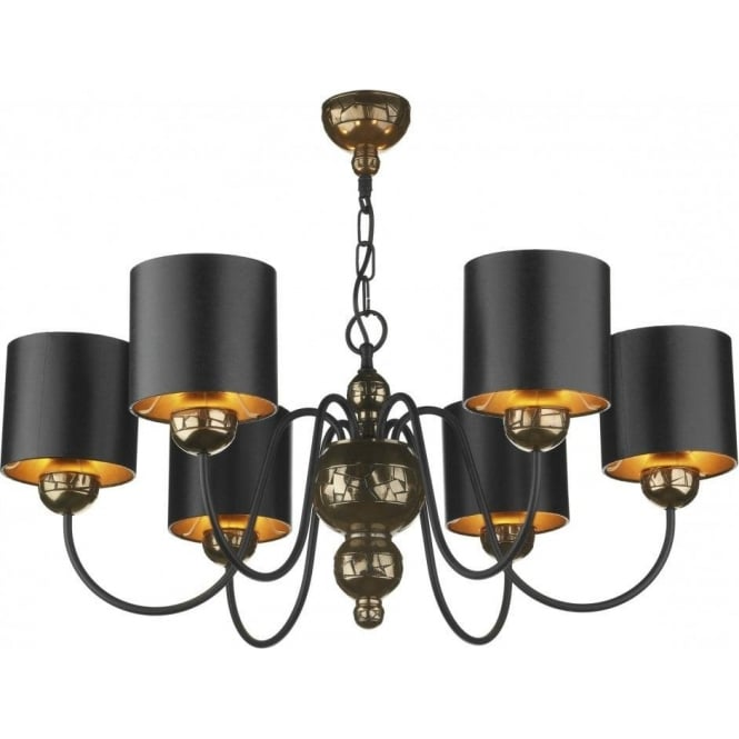 David hunt lighting garbo medium 6 light chandelier fitting in garbo medium 6 light chandelier fitting in bronze finish with black shades aloadofball Images