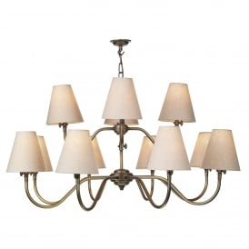 Hicks 12 Light Chandelier in Antique Brass with Linen Shades