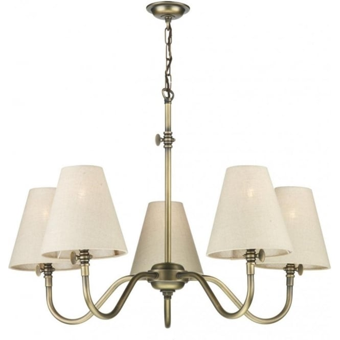 Hicks 5 light chandelier in antique brass
