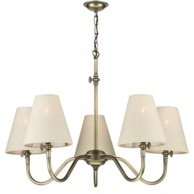 Hicks 5 light chandelier in antique brass