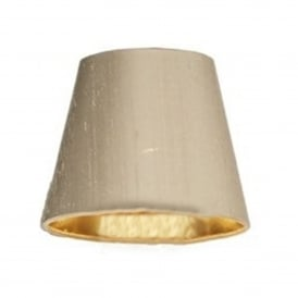 HID0701/GD Hidcote 7 Inch 100% Taupe Silk Candle Clip Shade With Gold Lining