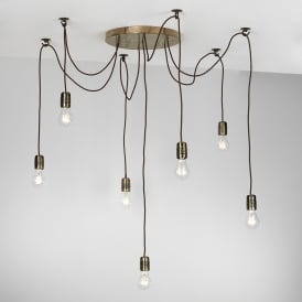 HUC3463 Huckleberry 7 Light Ceiling Pendant In Bronze Finish