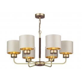 HUN0640-08-GD Hunter 6 Light Ceiling Fitting in Brass finish with Limestone Linen Shades