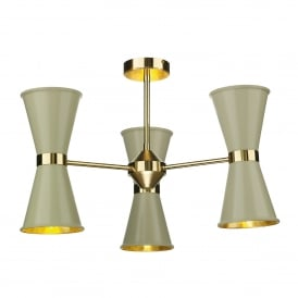 HYD062 Hyde 6 Light Ceiling Multi-Arm Pendant in Polished Brass Finish with Pebble Metal Shades