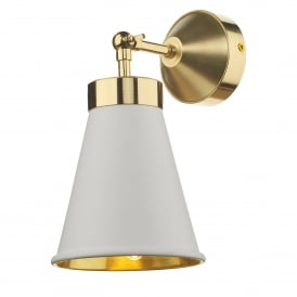 HYD0702 Hyde Single Light Wall Fitting in Polished Brass Finish with Arctic White Metal Shade