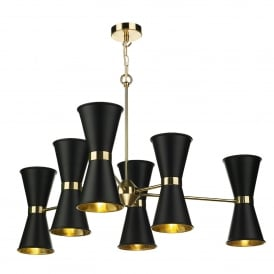 HYD1222 Hyde 12 Light Ceiling Multi-Arm Pendant in Polished Brass Finish with Black Metal Shades