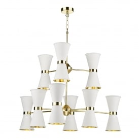HYD1802 Hyde 18 Light Ceiling Pendant in Polished Brass Finish with Arctic White Metal Shades
