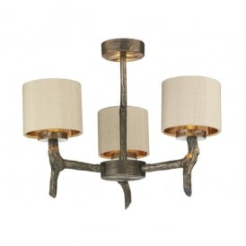 JOS0301 Joshua 3 Light Chandelier in a Bronze Finish with Silk Taupe Shades