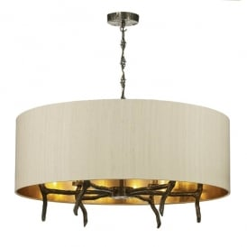 JOS0601 Joshua 6 Light Ceiling Pendant in Bronze Finish with Taupe 100% Silk Shade