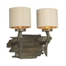 JOS0901 Joshua 2 Light Wall Fitting in Bronze Finish with Taupe 100% Silk Shade