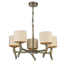 Joshua Large 5 Light Chandelier in Bronze with Silk Taupe Shades
