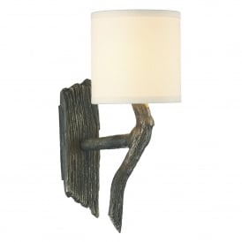 Joshua Single Light Halogen Wall Fitting In Bronze Finish With Cream Linen Shade