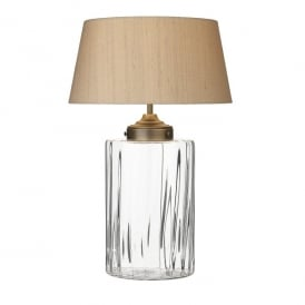 Kew Single Light Clear Glass Table Lamp With Taupe Silk Shade