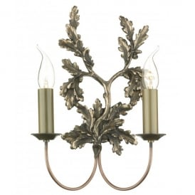 LEA0963 Leaf 2 Light Wall Fitting in a Bronze Finish with Oak Leaf Detail