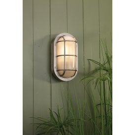 LIG5238 Lighthouse Single Light Outdoor Wall Fitting Made From Solid Brass In Nickel Finish with Frosted Glass Diffuser