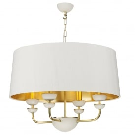 LUN0494 Lunar 4 Light Ceiling Pendant in Brass Finish complete with Ivory Silk Shade With Gold Metallic Lining