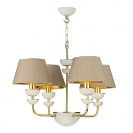 LUN8694 Lunar 4 Light Ceiling Pendant in Brass Finish Complete With Taupe Silk Shades With Gold Metallic Lining