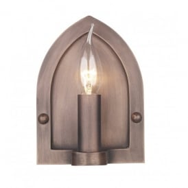LW864 Lindisfarne Single Light Wall Fitting with a Copper Finish