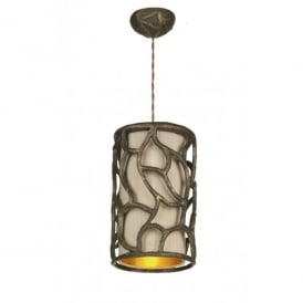 Lyra Single Light Ceiling Pendant with Gold Cocoa Finish and Taupe Shade