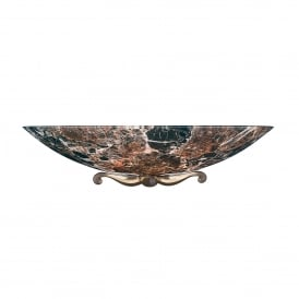 MG28 Savoy Single Light Dark Marble Wall Washer With Bronze Detail