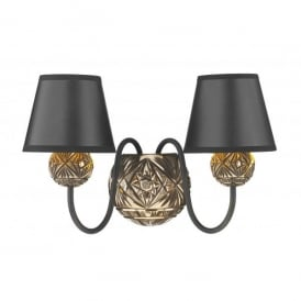 Novella 2 Light Wall Fitting in Black and Bronze with Black Shades