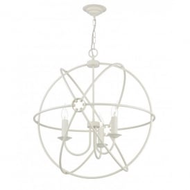 Orb 3 Light Handcrafted Pendant with an Atom Design in a Cream Finish