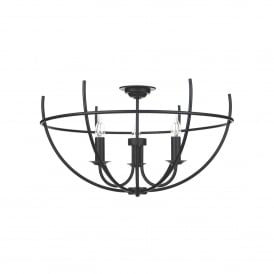 Orb 3 Light Handcrafted Semi Flush Ceiling Fitting In Black Finish
