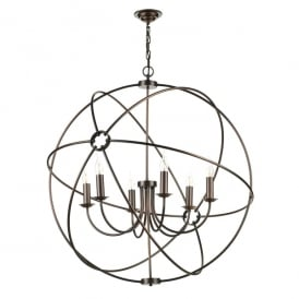 Orb 6 Light Handcrafted Pendant with Atom Design in Antique Solid Copper Finish