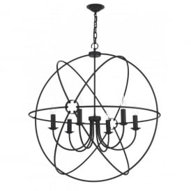 Orb Large 6 Light Handcrafted Pendant with an Atom Design in a Black Finish