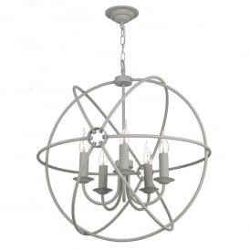 ORB0539 Orb 5 Light Handcrafted Pendant with an Atom Design In Ash Grey Finish