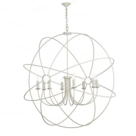 ORB0833 Orb 8 Light Handcrafted Pendant with an Atom Design In Cream Finish