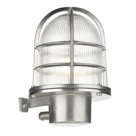 PIE1638 Pier Single Light Solid Brass Wall Fitting in Nickel Finish with Glass Diffuser (Outdoor)