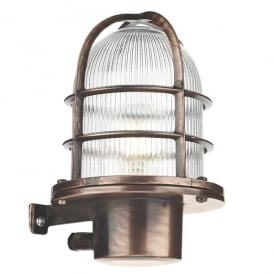 PIE1664 Pier Single Light Solid Brass Wall Fitting in Antique Copper Finish with Glass Diffuser (Outdoor)