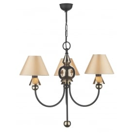PP37 Spearhead 3 Light Ceiling Fitting In Black And Bronze Finish